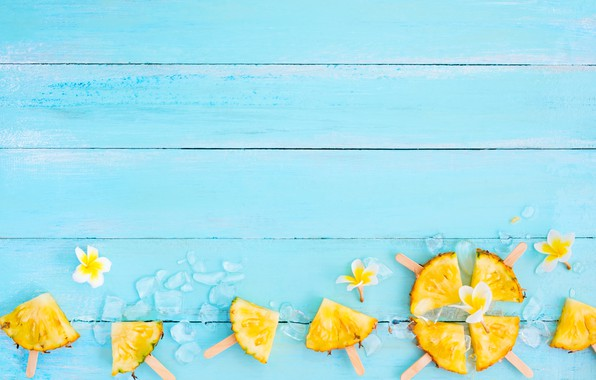 Picture fruit, ice, summer, pineapple, wood, slices, fruit, pineapple, plumeria, plumeria, slice