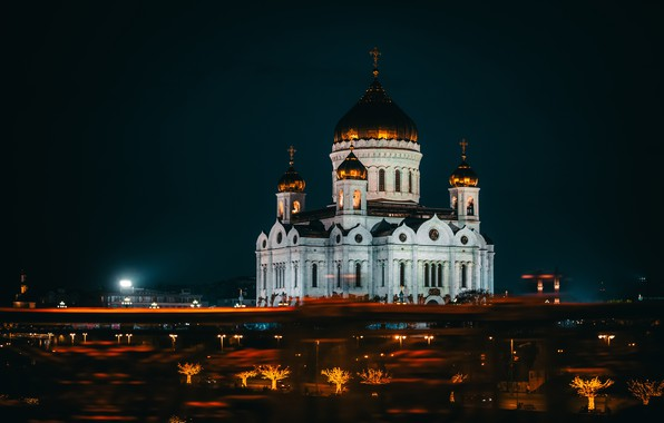 Picture night, bridge, the city, lighting, Moscow, temple, The Cathedral Of Christ The Savior, HHS