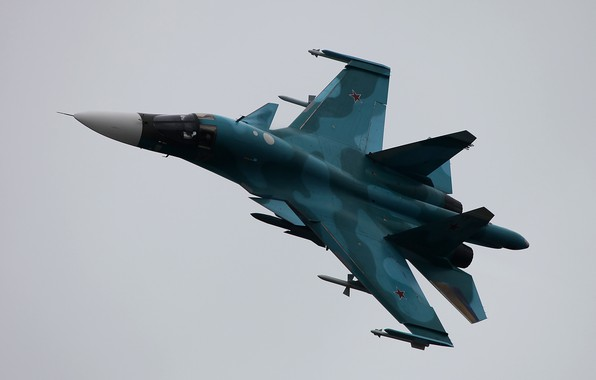 Picture flight, Russian, fighter-bomber, Fullback, Su-34, Sukhoi, supersonic, multifunction, Videoconferencing Russia, Su-34, generation 4
