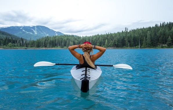 Picture forest, mountains, river, blonde, relaxation, kayak