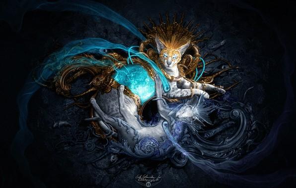 Picture fantasy, blue eyes, cats, artist, digital art, artwork, mask, fantasy art, Erik Shoemaker