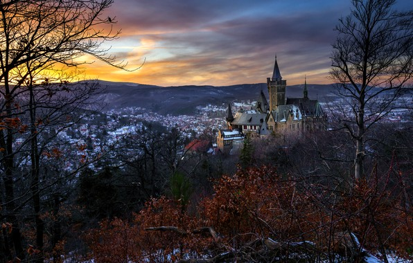 Picture sunset, the city, Wernigerode Castle