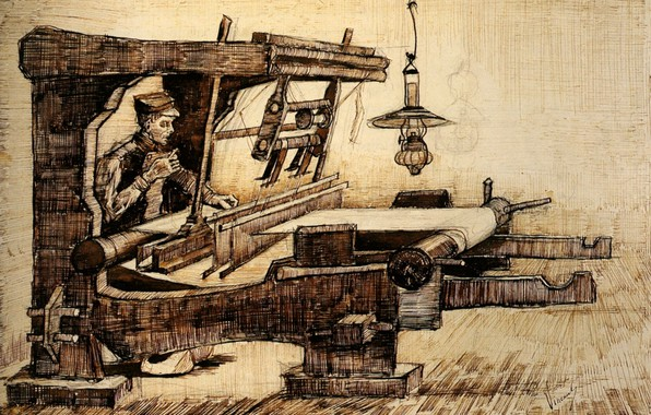 Picture lamp, Vincent van Gogh, Weaver 2, weaver with a cigarette