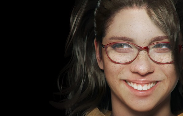 Picture look, girl, face, smile, hair, teeth, glasses, freckles, looks, Devil may cry 5, happy, Nico, …