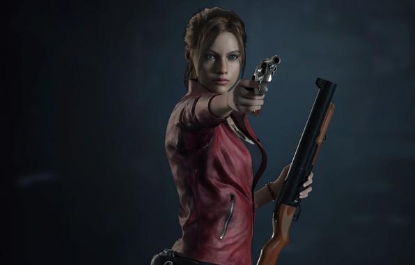 Picture girl, gun, background, Resident Evil 2, Resident Evil 2 (2019)