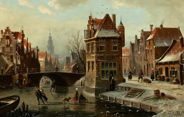 Picture Dutch painter, Dutch artist, oil on canvas, Johannes Franciscus Spohler, Scene on the canal with …