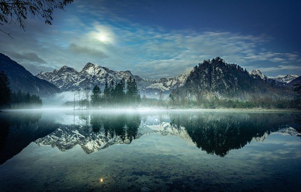 Picture trees, mountains, lake, reflection, morning, Austria, Alps, Austria, Alps, Lake Else, Lake Alm, Almsee Lake