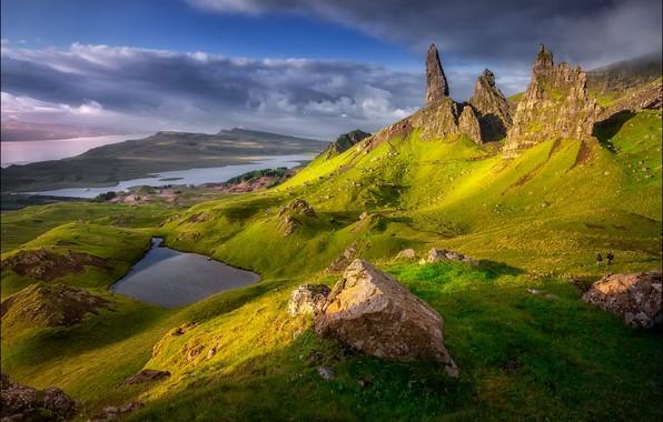 Picture the sun, lake, rocks, Scotland, Scotland, photographer Georg Scharf