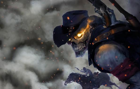 Picture Figure, Skull, Smoke, Fantasy, Art, Art, Undead, Skeleton, The bandits, Western, Bandit, Dead, by Carlos …