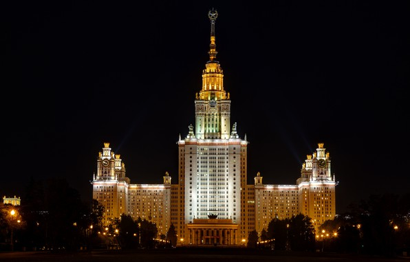 Picture night, Moscow, University high-rise building in Moscow