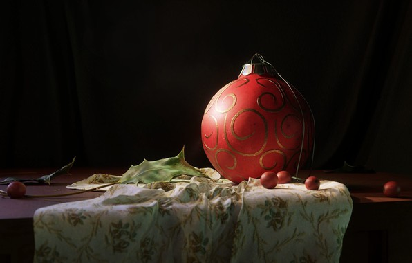 Picture rendering, mood, art, New year, new year's eve ball, Gregory Smith, Christmas Still Life