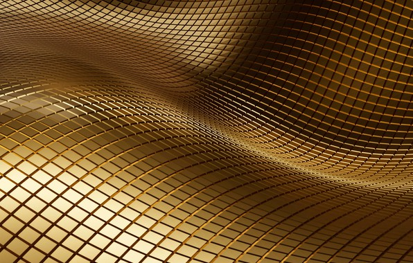 Picture wave, abstraction, squares, gold, texture