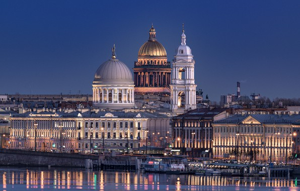 Picture the city, river, the evening, Peter, lighting, Saint Petersburg, architecture, dome, Neva, ships, Isaac Coll