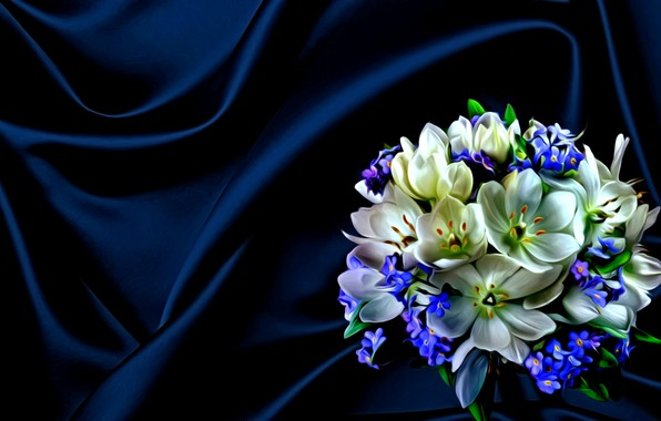 Picture flowers, rendering, picture, dark blue background, spring bouquet, silk fabric