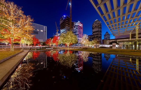 Picture water, trees, night, lights, reflection, new year, home, Christmas, construction, USA, garland, skyscrapers, Dallas, Texas, …