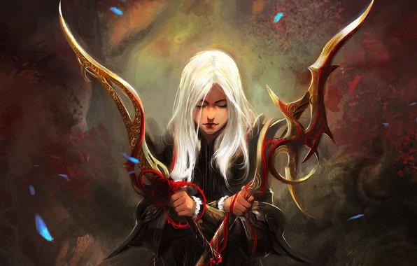 Picture girl, fantasy, weapon, Warrior, blonde, digital art, artwork, concept art, swords, fantasy art, fantasy girl, …