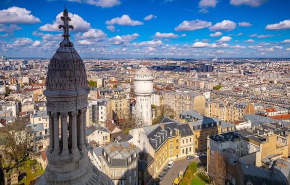 Picture clouds, France, Paris, building, top