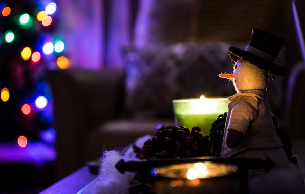 Picture Christmas, Holidays, Blur, Macro, Snowman, Candles