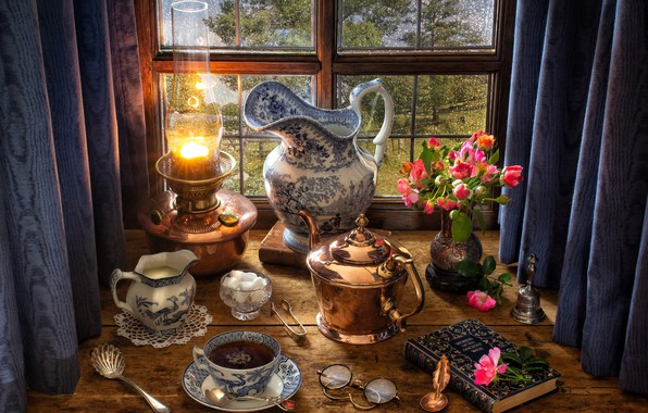 Picture flowers, style, tea, lamp, roses, bouquet, kettle, window, glasses, sugar, book, pitcher, still life