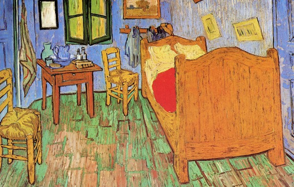 Picture bed, chairs, window, pictures, Vincent van Gogh, The Bedroom, .