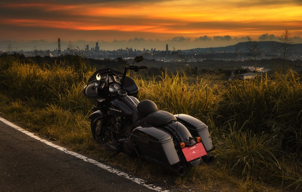 Picture road, sunset, motorcycle