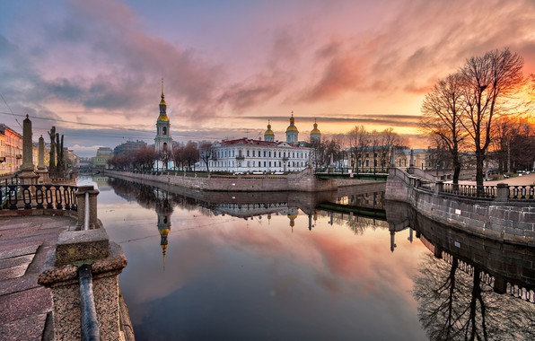 Picture autumn, sunset, the city, reflection, building, tower, Peter, Saint Petersburg, channel, dome, Ed Gordeev, Gordeev …
