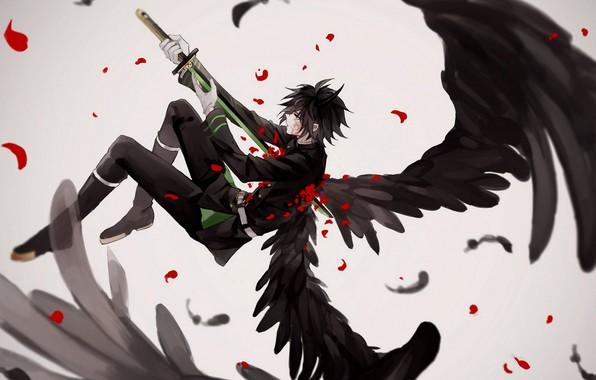 Picture wings, angel, sword, anime, art, Owari no Seraph, the last Seraphim, Yuichiro