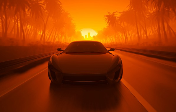 Picture Sunset, The sun, Auto, Road, Machine, Palm trees, Graphics, Rendering, Sport Car, By mentat3d, mentat3d, ...