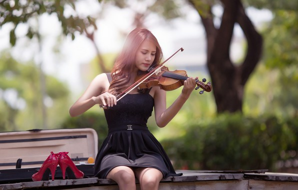 Picture music, girl, dress, photography, violin, Musician, playing, high heels, sitting, red shoes, portrait, musical instrument, …