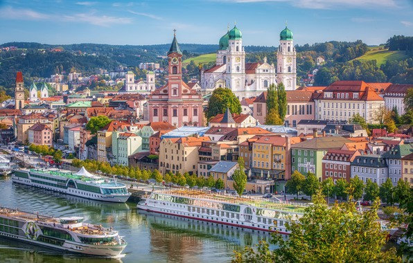 Picture river, building, home, Germany, pier, Bayern, promenade, Germany, Bavaria, Passau, ships, Passau, River Danube, The …