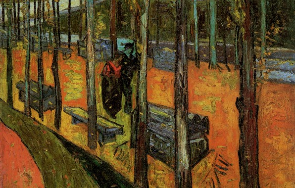 Picture trees, benches, passers-by, Vincent van Gogh, The Alyscamps 2