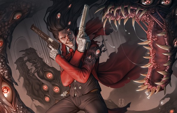 Picture eyes, hair, guns, anime, vampire, gun, cloak, Hellsing, art, alucard, dracula