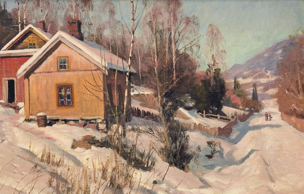Picture 1918, Danish painter, Peter Merk Of Menstad, Peder Mørk Mønsted, Danish realist painter, oil on …