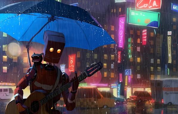 Picture city, guitar, fantasy, robot, rain, cars, umbrella, cat, street, artist, digital art, buildings, artwork, situation, …