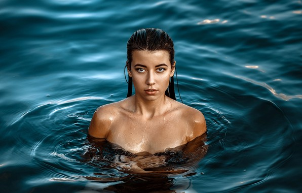 Picture look, model, portrait, wet, makeup, brunette, hairstyle, beauty, in the water, posing, sexy, dark, Olesya, …