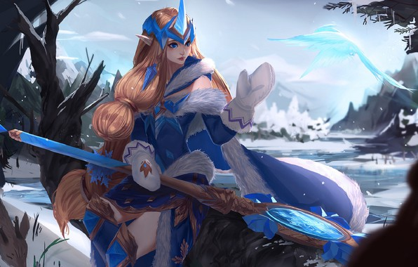 Picture winter, snow, ice, mantle, fur, staff, red, Diadema, art, mittens, League of Legends, League Of …