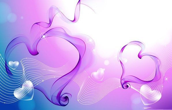 Picture love, line, background, heart, music, hearts, love, melody, heart, blue, background, purple, melody