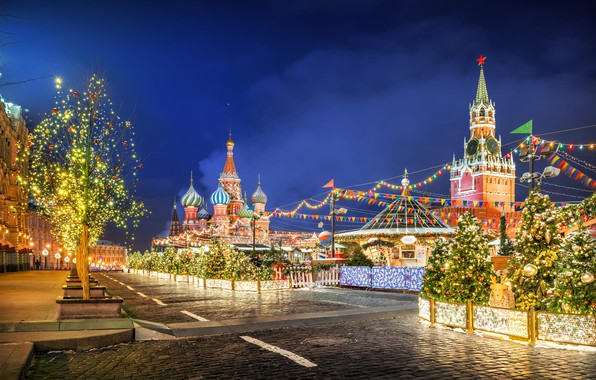 Picture winter, decoration, night, holiday, new year, tower, morning, lighting, lights, Moscow, Cathedral, temple, Red square, …