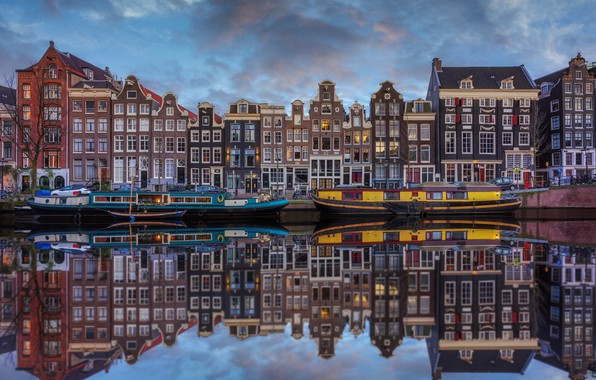 Wallpaper water, reflection, home, boats, Amsterdam, Netherlands