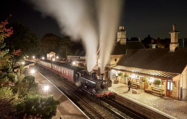 Picture night, lights, retro, the engine, station, the platform