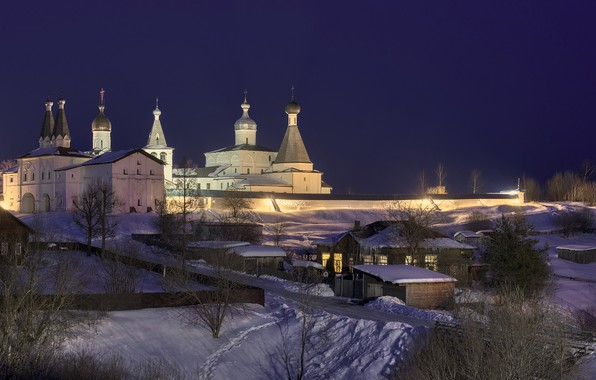 Picture winter, road, snow, night, home, village, lighting, the monastery, Vologda oblast, Sergei Garmashov