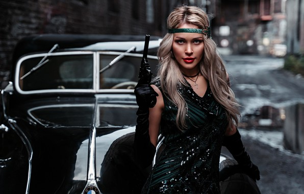 Picture machine, auto, girl, pose, style, retro, gun, weapons, the situation, blonde, Альбина Пономарёва