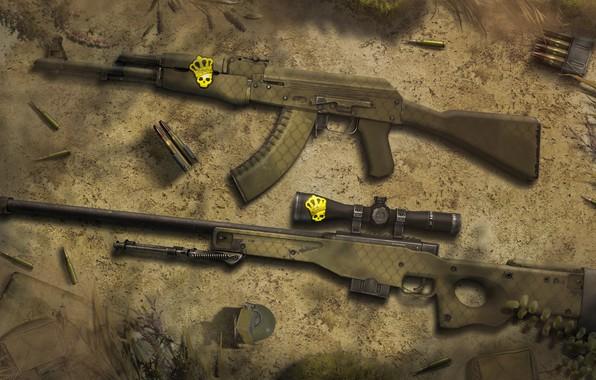 Picture ART, AK-47, Weapon, CSGO, Wallpaeprs, AWP, Safari Mesh