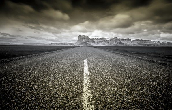 Picture road, mountains, Iceland
