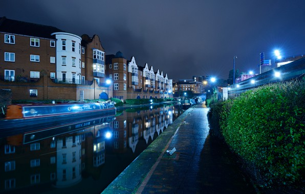 Picture water, night, lights, reflection, river, England, home, lights, channel, boats, the bushes, Birmingham