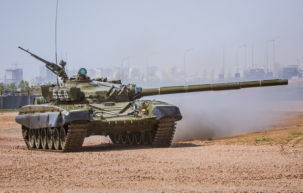 Picture polygon, T-72, demonstration, Russian tank