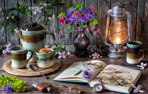 Picture flowers, style, lamp, coffee, bouquet, glasses, mug, book, still life, compass, cornflowers, clematis, coffee pot