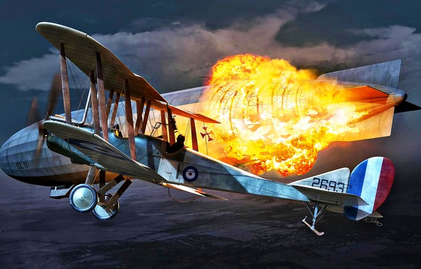 Picture Fire, The explosion, Biplane, The airship, WWI, Royal Aircraft Factory, B.E.2C