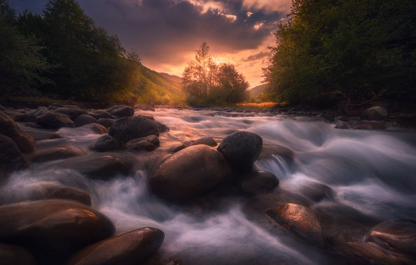 Picture the sky, trees, landscape, sunset, clouds, nature, river, stones, hills, for, Bank, verbal