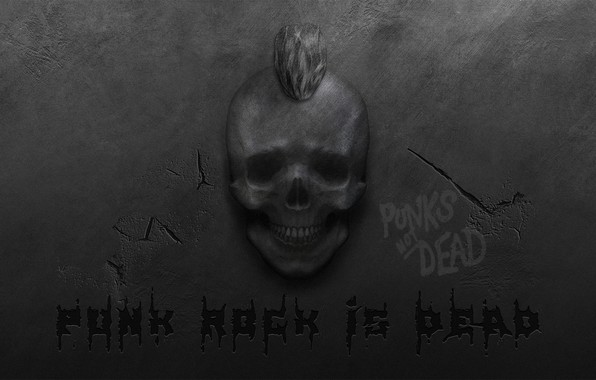Picture cracked, wall, skull, Mohawk, punk rock, punk rock, punk rock is dead, punk rock is …